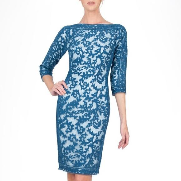 a50e0c17b4c Tadashi Shoji Blue Lace 3 4 Sleeve Dress. M 5b33a06c2beb79dc6dae08b8
